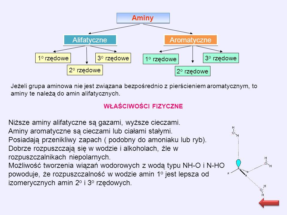Aminy Alifatyczne Aromatyczne 1 o rzędowe 2 o rzędowe 3 o rzędowe 1 o rzędowe 3 o rzędowe 2 o rzędowe Jeżeli grupa aminowa nie jest związana bezpośrednio z pierścieniem aromatycznym, to aminy te należą do amin alifatycznych.