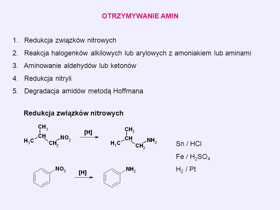 OTRZYMYWANIE AMIN 1. Redukcja związków nitrowych 2.