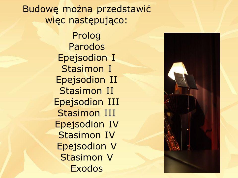 Budowę można przedstawić więc następująco: Prolog Parodos Epejsodion I Stasimon I Epejsodion II Stasimon II Epejsodion III Stasimon III Epejsodion IV