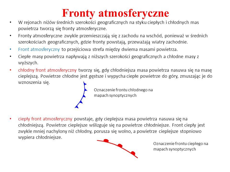 Fronty atmosferyczne W rejonach niżów średnich szerokości geograficznych na styku ciepłych i chłodnych mas powietrza tworzą się fronty atmosferyczne.
