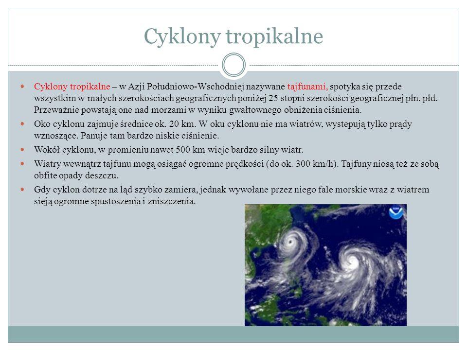 Cyklony tropikalne Cyklony tropikalne – w Azji Południowo-Wschodniej nazywane tajfunami, spotyka się przede wszystkim w małych szerokościach geografic