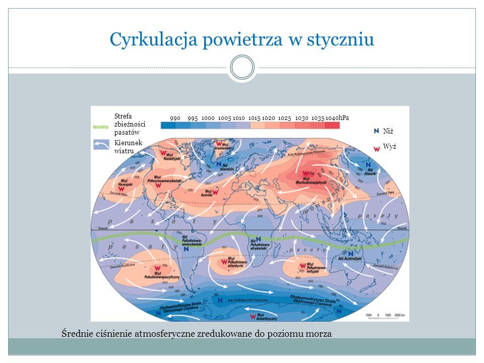 Cyrkulacja powietrza w styczniu Strefa zbieżności pasatów Kierunek wiatru Niż Wyż Średnie ciśnienie atmosferyczne zredukowane do poziomu morza 990 995