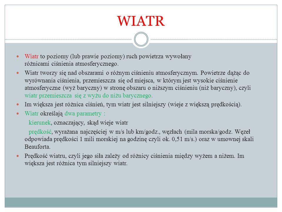WIATR Wiatr to poziomy (lub prawie poziomy) ruch powietrza wywołany różnicami ciśnienia atmosferycznego. Wiatr tworzy się nad obszarami o różnym ciśni