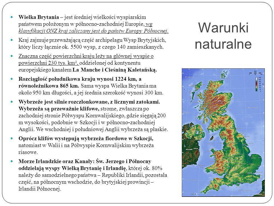 Warunki naturalne Wielka Brytania – jest średniej wielkości wyspiarskim państwem położonym w północno-zachodniej Europie, wg klasyfikacji ONZ kraj zaliczany jest do państw Europy Północnej.