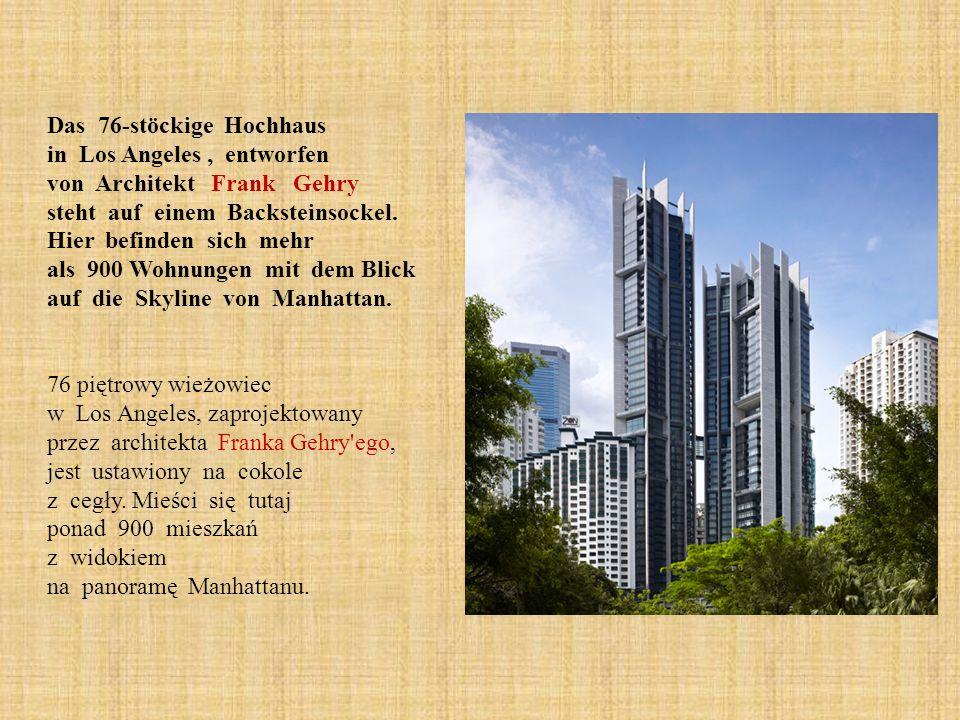 Das 76-stöckige Hochhaus in Los Angeles, entworfen von Architekt Frank Gehry steht auf einem Backsteinsockel. Hier befinden sich mehr als 900 Wohnunge