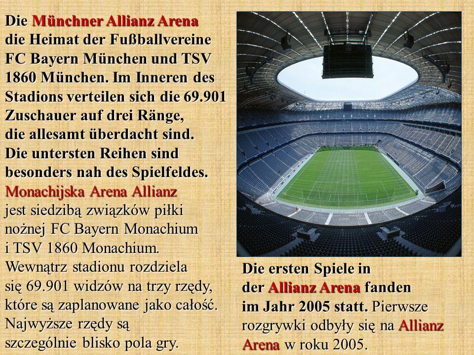Die Münchner Allianz Arena die Heimat der Fußballvereine FC Bayern München und TSV 1860 München. Im Inneren des Stadions verteilen sich die 69.901 Zus