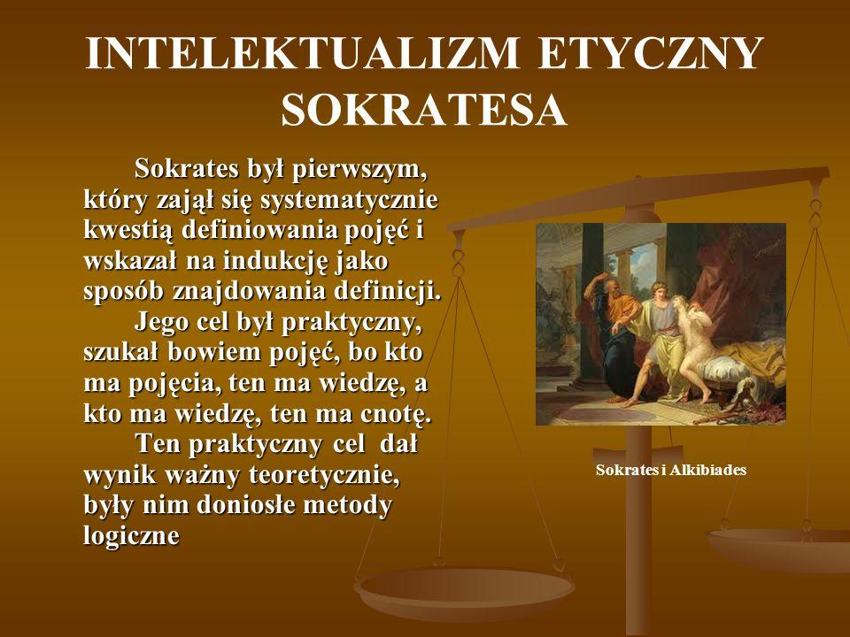 INTELEKTUALIZM ETYCZNY SOKRATESA Sokrates był pierwszym, który zajął się systematycznie kwestią definiowania pojęć i wskazał na indukcję jako sposób z