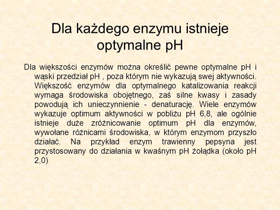 Dla każdego enzymu istnieje optymalne pH Dla większości enzymów można określić pewne optymalne pH i wąski przedział pH, poza którym nie wykazują swej aktywności.