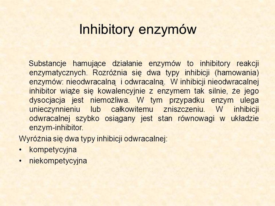 Inhibitory enzymów Substancje hamujące działanie enzymów to inhibitory reakcji enzymatycznych.