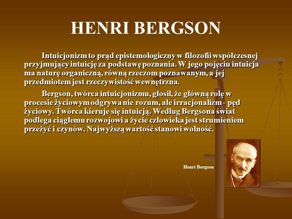 HENRI BERGSON Intuicjonizm to prąd epistemologiczny w filozofii współczesnej przyjmujący intuicję za podstawę poznania. W jego pojęciu intuicja ma nat
