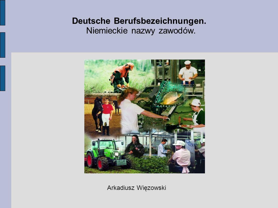 Deutsche Berufsbezeichnungen. Niemieckie nazwy zawodów. Arkadiusz Więzowski