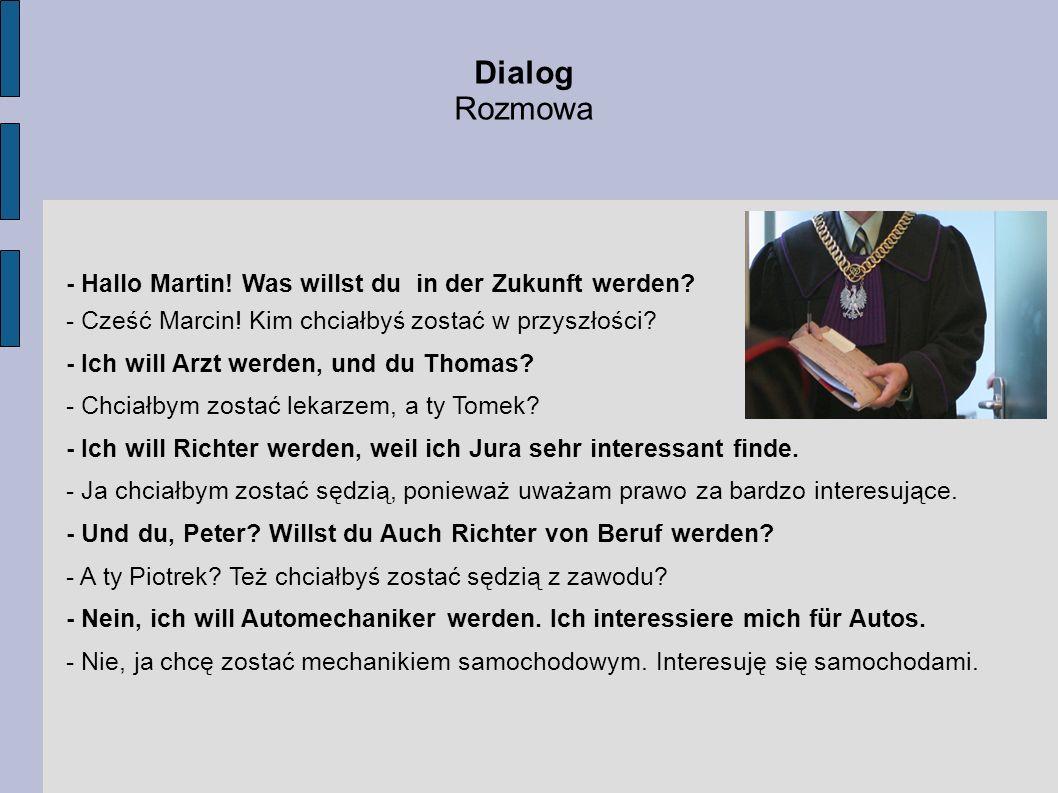 Dialog Rozmowa - Hallo Martin.Was willst du in der Zukunft werden.