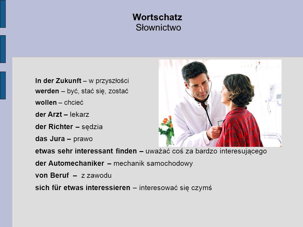Wortschatz Słownictwo In der Zukunft – w przyszłości werden – być, stać się, zostać wollen – chcieć der Arzt – lekarz der Richter – sędzia das Jura –