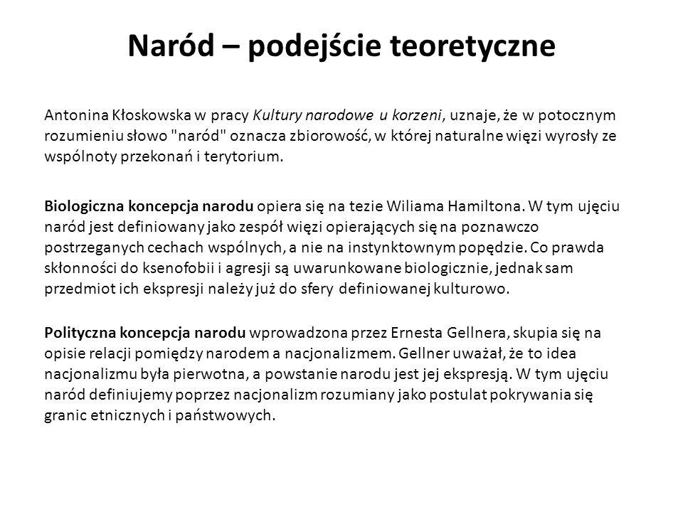 Naród – podejście teoretyczne Antonina Kłoskowska w pracy Kultury narodowe u korzeni, uznaje, że w potocznym rozumieniu słowo