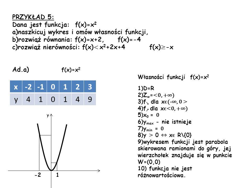 PRZYKŁAD 5: Dana jest funkcja: f(x)=x 2 a)naszkicuj wykres i omów własności funkcji, b)rozwiąż równania: f(x)=x+2, f(x)=-4 c)rozwiąż nierówności: f(x)