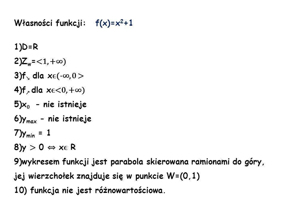Własności funkcji: f(x)=x 2 +1 1)D=R 2)Z w = <1, +) 3)f dla x ϵ(-, 0 > 4)f dla x ϵ<0, +) 5)x 0 - nie istnieje 6)y max - nie istnieje 7)y min = 1 8)y >