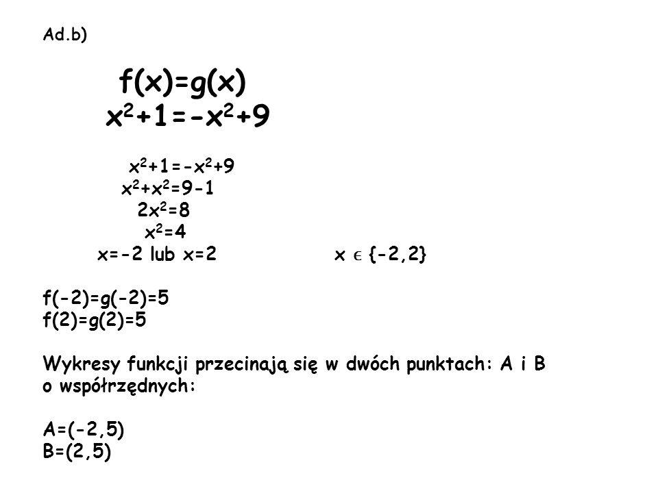 Ad.b) f(x)=g(x) x 2 +1=-x 2 +9 x 2 +1=-x 2 +9 x 2 +x 2 =9-1 2x 2 =8 x 2 =4 x=-2 lub x=2 x ϵ {-2,2} f(-2)=g(-2)=5 f(2)=g(2)=5 Wykresy funkcji przecinaj