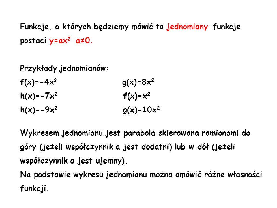 Funkcje, o których będziemy mówić to jednomiany-funkcje postaci y=ax 2 a0. Przykłady jednomianów: f(x)=-4x 2 g(x)=8x 2 h(x)=-7x 2 f(x)=x 2 h(x)=-9x 2