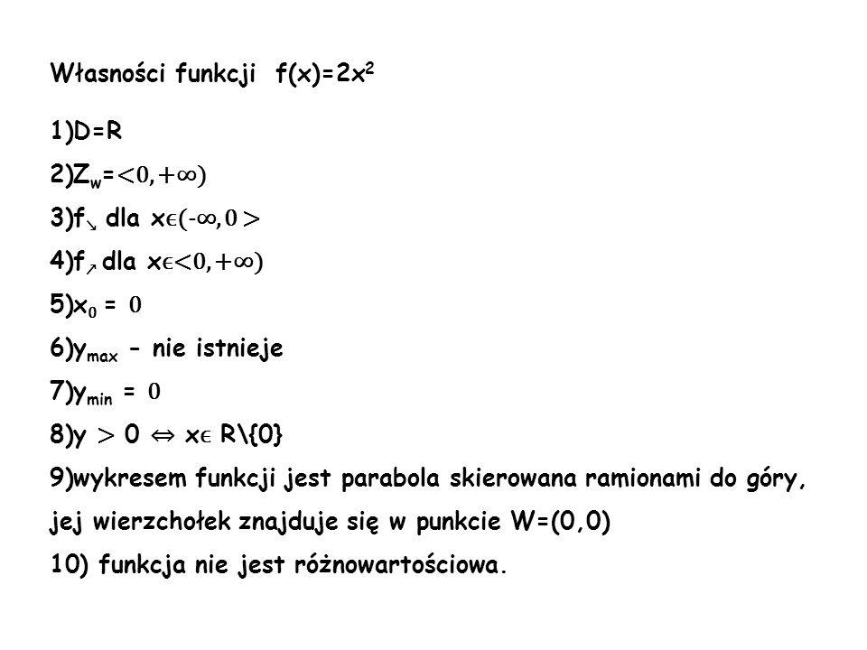 Własności funkcji f(x)=2x 2 1)D=R 2)Z w = <0, +) 3)f dla x ϵ(-, 0 > 4)f dla x ϵ<0, +) 5)x 0 = 0 6)y max - nie istnieje 7)y min = 0 8)y > 0 x ϵ R\{0} 9
