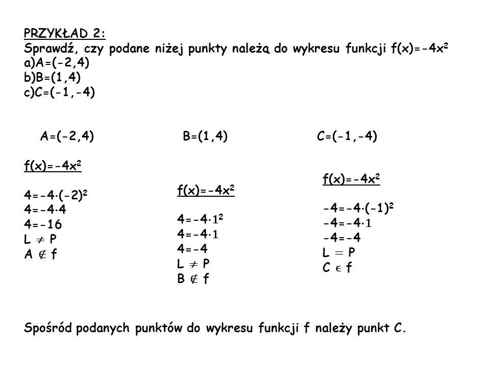 PRZYKŁAD 2: Sprawdź, czy podane niżej punkty należą do wykresu funkcji f(x)=-4x 2 a)A=(-2,4) b)B=(1,4) c)C=(-1,-4) A=(-2,4) B=(1,4) C=(-1,-4) f(x)=-4x