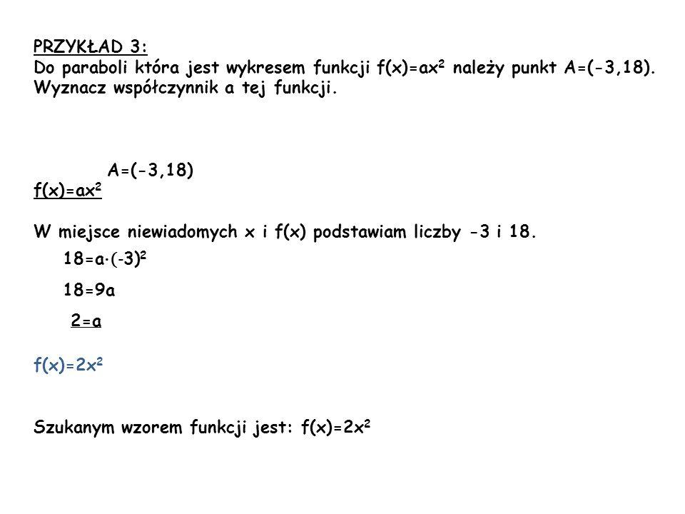 PRZYKŁAD 3: Do paraboli która jest wykresem funkcji f(x)=ax 2 należy punkt A=(-3,18). Wyznacz współczynnik a tej funkcji. A=(-3,18) f(x)=ax 2 W miejsc
