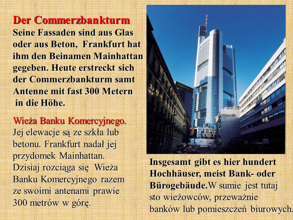 Insgesamt gibt es hier hundert Hochhäuser, meist Bank- oder Bürogebäude.W sumie jest tutaj sto wieżowców, przeważnie banków lub pomieszczeń biurowych.