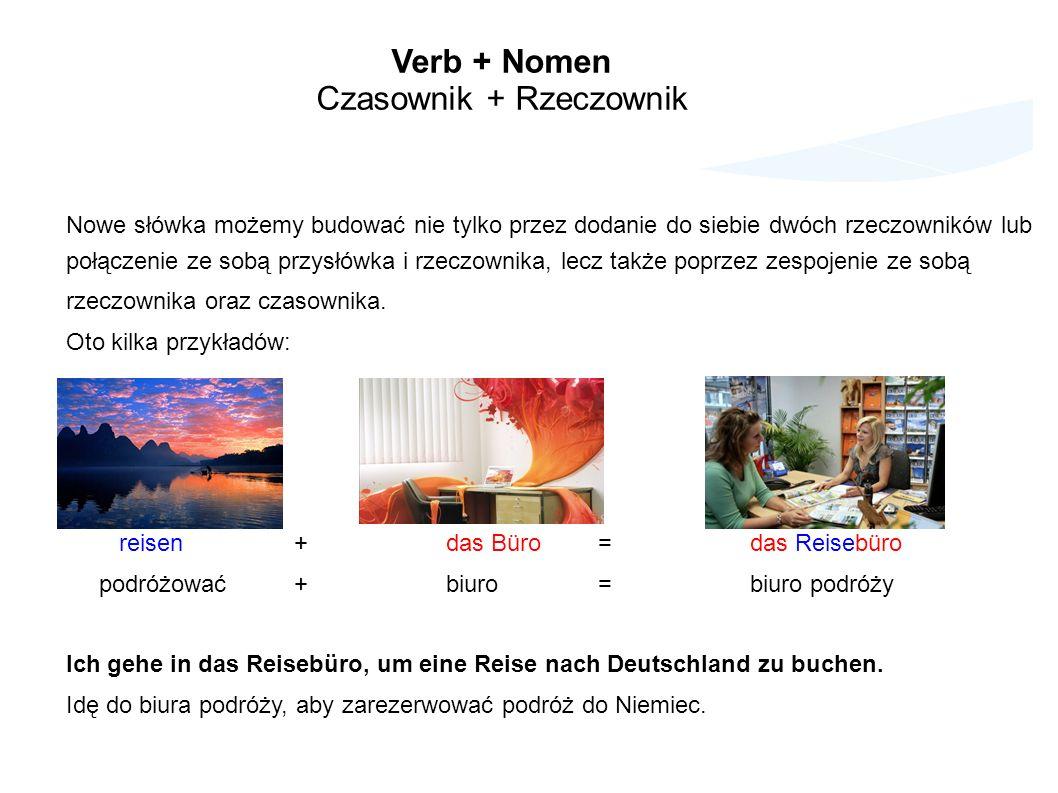Verb + Nomen Czasownik + Rzeczownik Nowe słówka możemy budować nie tylko przez dodanie do siebie dwóch rzeczowników lub połączenie ze sobą przysłówka i rzeczownika, lecz także poprzez zespojenie ze sobą rzeczownika oraz czasownika.