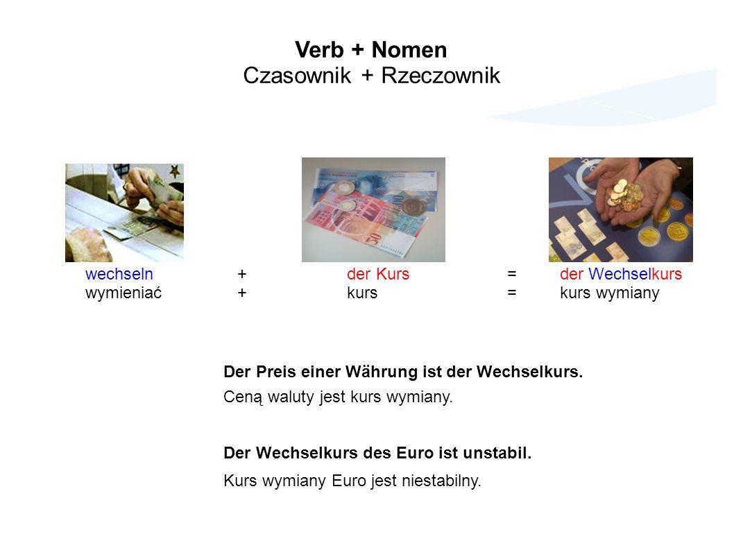 Verb + Nomen Czasownik + Rzeczownik wechseln + der Kurs=der Wechselkurs wymieniać + kurs=kurs wymiany Der Preis einer Währung ist der Wechselkurs.