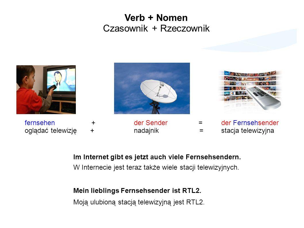 fernsehen +der Sender =der Fernsehsender oglądać telewizję+nadajnik=stacja telewizyjna Im Internet gibt es jetzt auch viele Fernsehsendern.