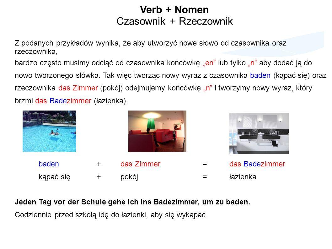 Verb + Nomen Czasownik + Rzeczownik Z podanych przykładów wynika, że aby utworzyć nowe słowo od czasownika oraz rzeczownika, bardzo często musimy odciąć od czasownika końcówkę en lub tylko n aby dodać ją do nowo tworzonego słówka.