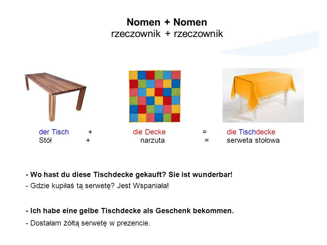 Nomen + Nomen rzeczownik + rzeczownik der Tisch + die Decke = die Tischdecke Stół + narzuta = serweta stołowa - Wo hast du diese Tischdecke gekauft.