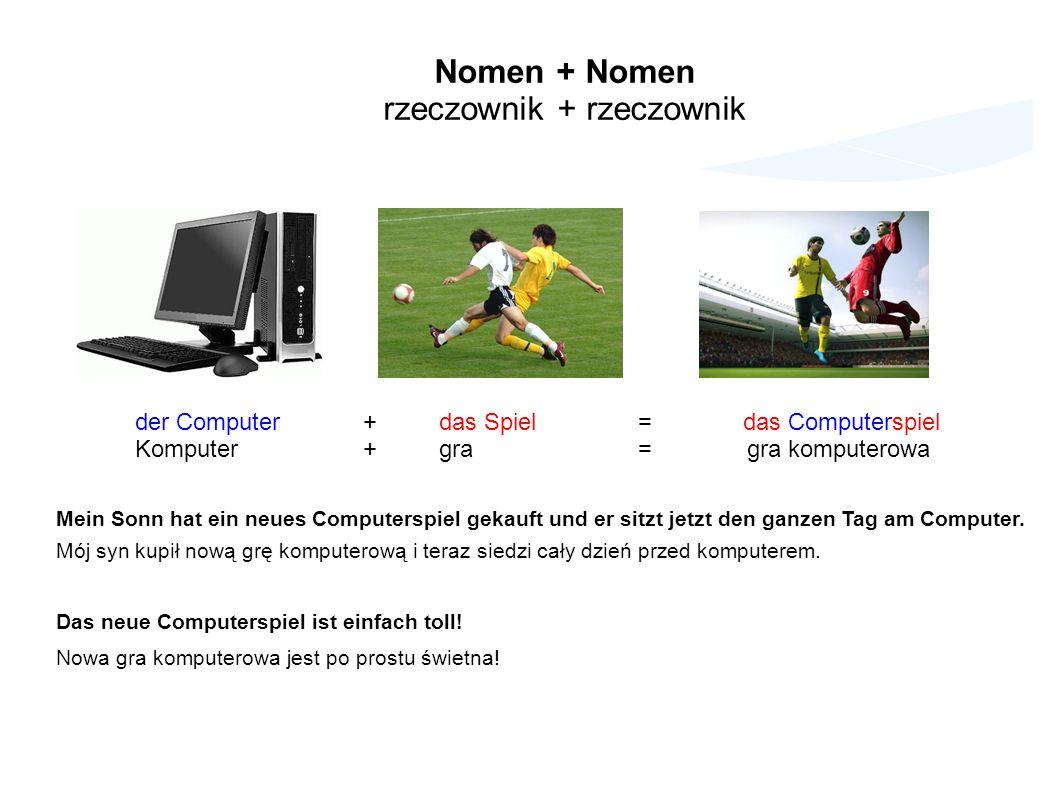 Nomen + Nomen rzeczownik + rzeczownik der Computer+das Spiel = das Computerspiel Komputer+gra = gra komputerowa Mein Sonn hat ein neues Computerspiel gekauft und er sitzt jetzt den ganzen Tag am Computer.