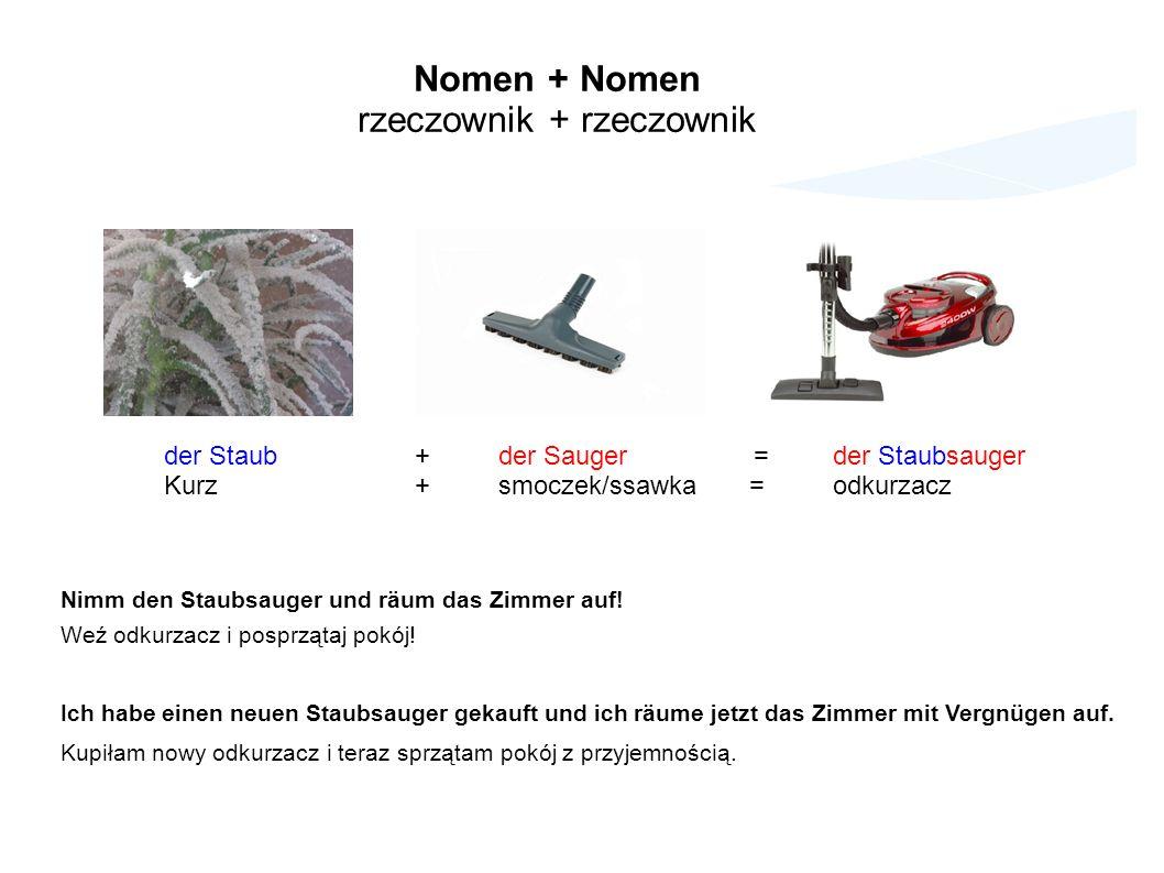 Nomen + Nomen rzeczownik + rzeczownik der Staub +der Sauger =der Staubsauger Kurz +smoczek/ssawka =odkurzacz Nimm den Staubsauger und räum das Zimmer auf.