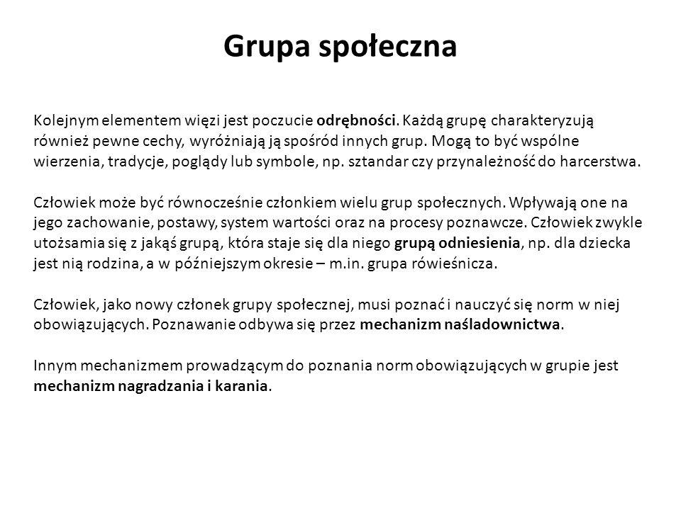 Grupa społeczna Kolejnym elementem więzi jest poczucie odrębności. Każdą grupę charakteryzują również pewne cechy, wyróżniają ją spośród innych grup.