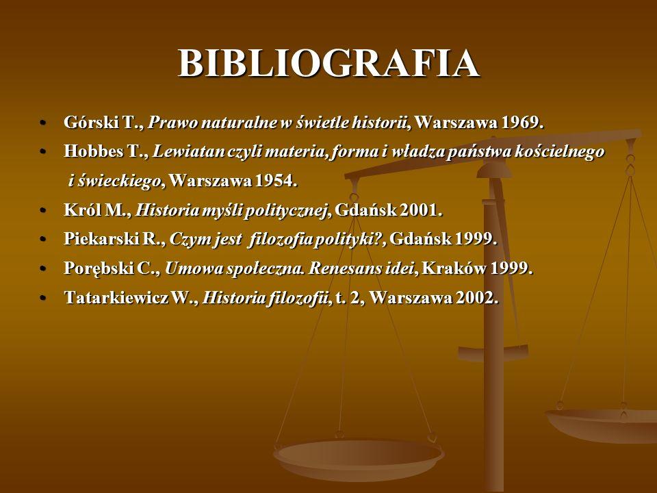 BIBLIOGRAFIA Górski T., Prawo naturalne w świetle historii, Warszawa 1969.Górski T., Prawo naturalne w świetle historii, Warszawa 1969. Hobbes T., Lew