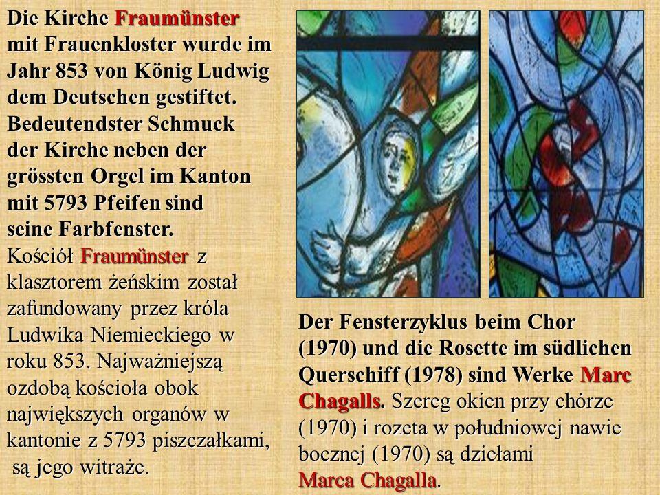Der Fensterzyklus beim Chor (1970) und die Rosette im südlichen Querschiff (1978) sind Werke Marc Chagalls.