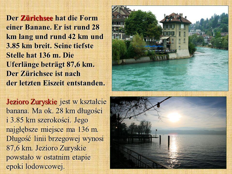 Der Zürichsee hat die Form einer Banane. Er ist rund 28 km lang und rund 42 km und 3.85 km breit.