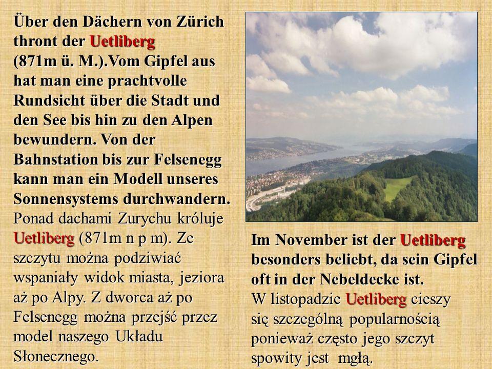 Über den Dächern von Zürich thront der Uetliberg (871m ü.