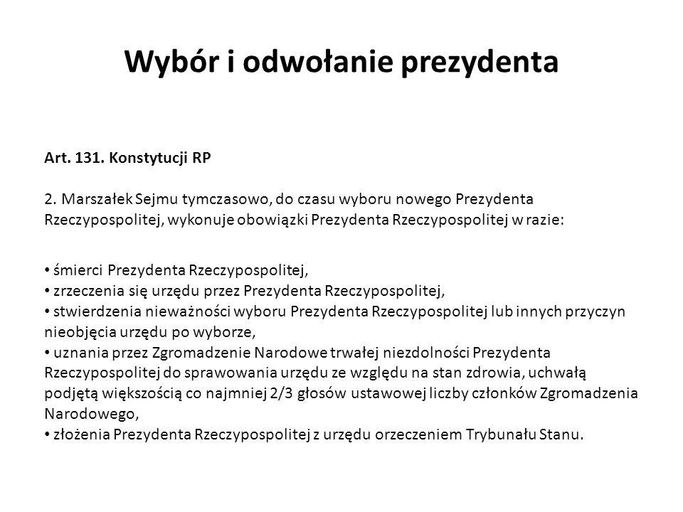 śmierci Prezydenta Rzeczypospolitej, zrzeczenia się urzędu przez Prezydenta Rzeczypospolitej, stwierdzenia nieważności wyboru Prezydenta Rzeczypospoli