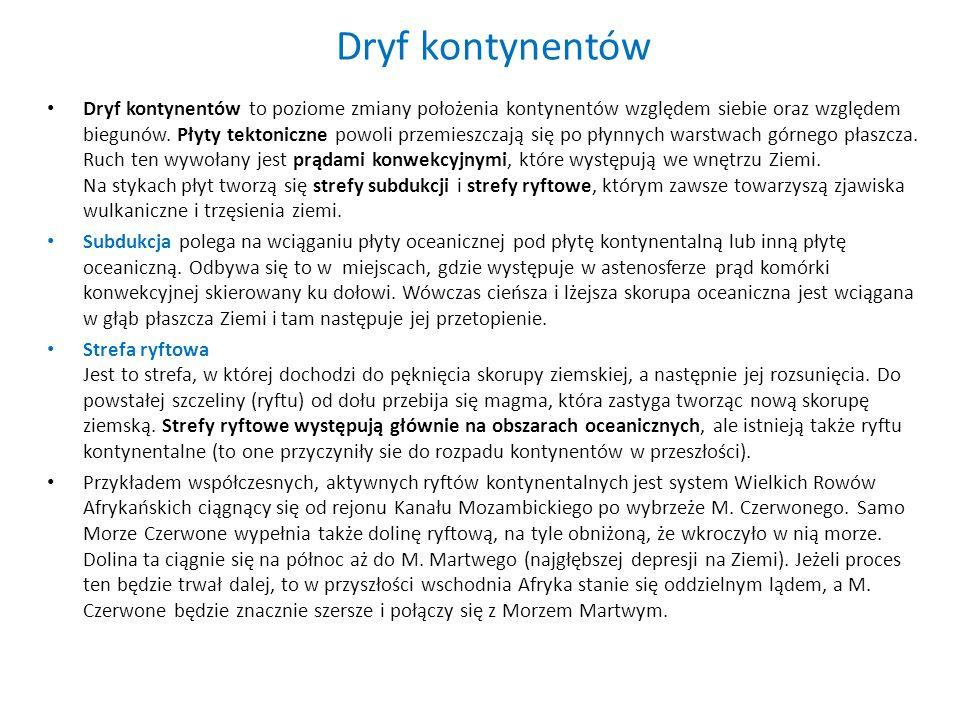 Dryf kontynentów Dryf kontynentów to poziome zmiany położenia kontynentów względem siebie oraz względem biegunów. Płyty tektoniczne powoli przemieszcz