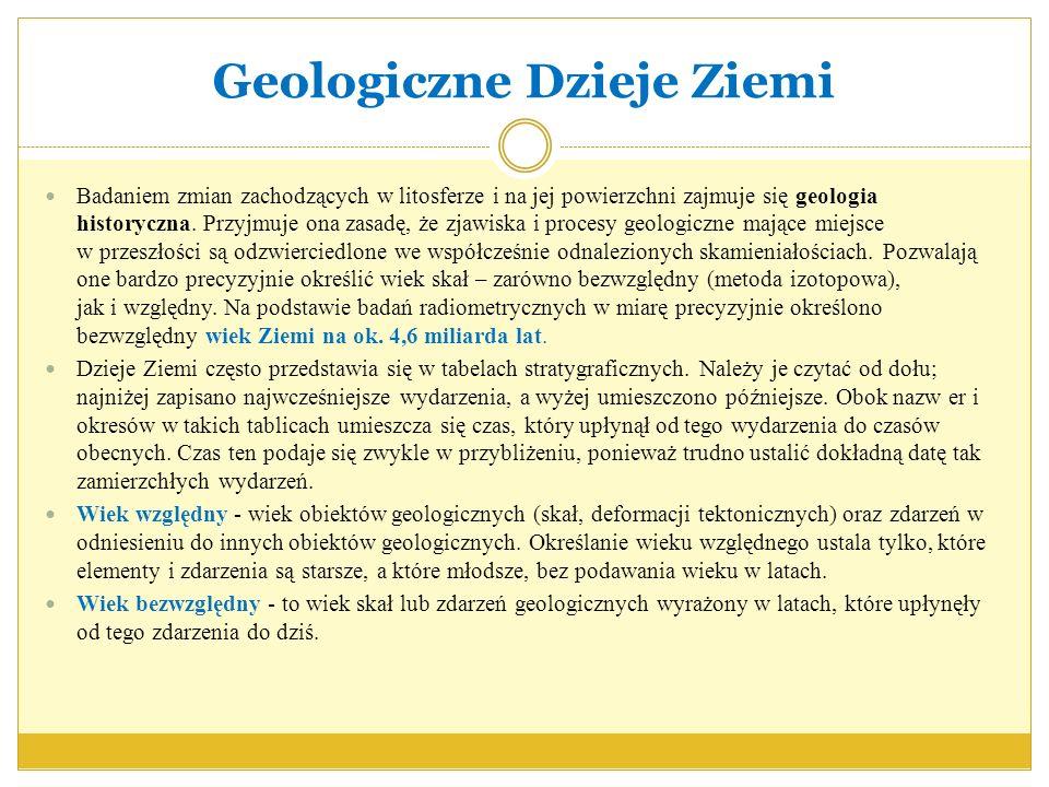 Geologiczne Dzieje Ziemi Badaniem zmian zachodzących w litosferze i na jej powierzchni zajmuje się geologia historyczna. Przyjmuje ona zasadę, że zjaw