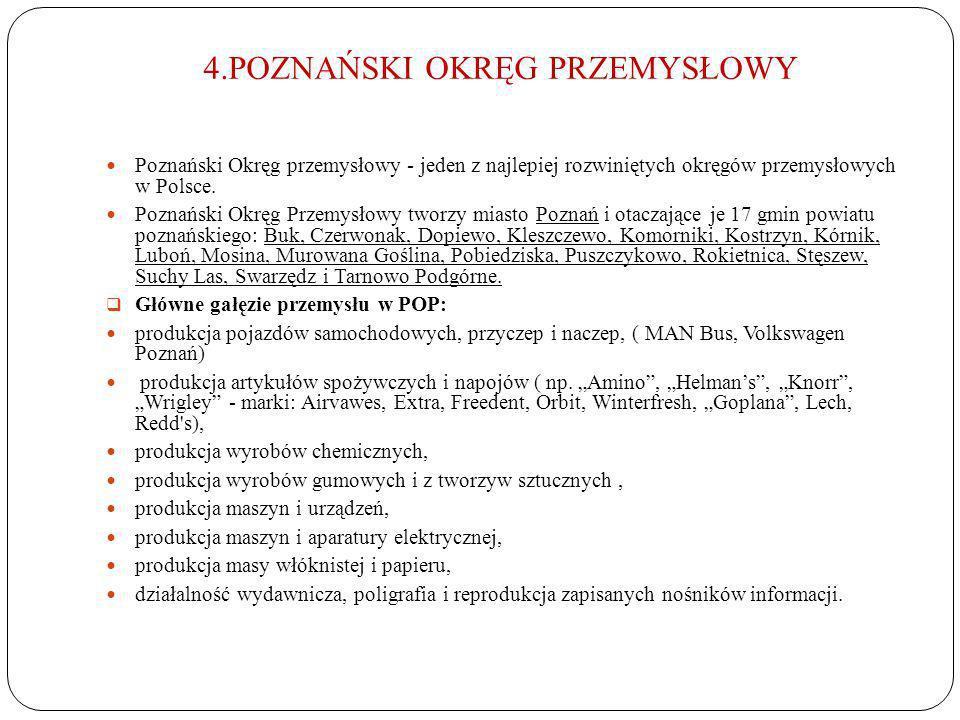 4.POZNAŃSKI OKRĘG PRZEMYSŁOWY Poznański Okręg przemysłowy - jeden z najlepiej rozwiniętych okręgów przemysłowych w Polsce. Poznański Okręg Przemysłowy