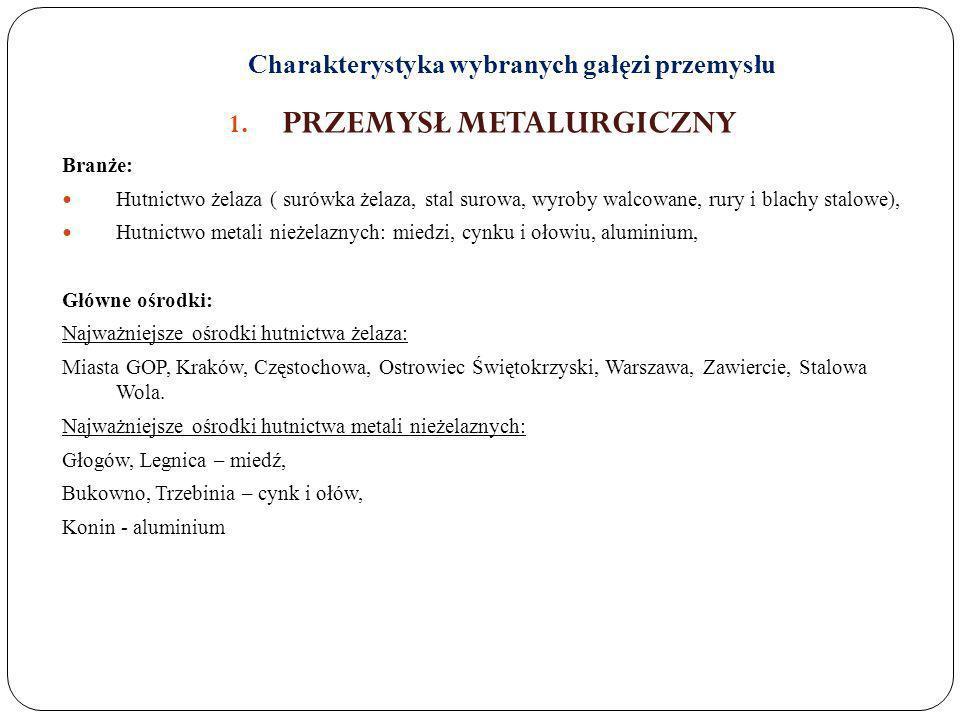 Charakterystyka wybranych gałęzi przemysłu 1. PRZEMYSŁ METALURGICZNY Branże: Hutnictwo żelaza ( surówka żelaza, stal surowa, wyroby walcowane, rury i