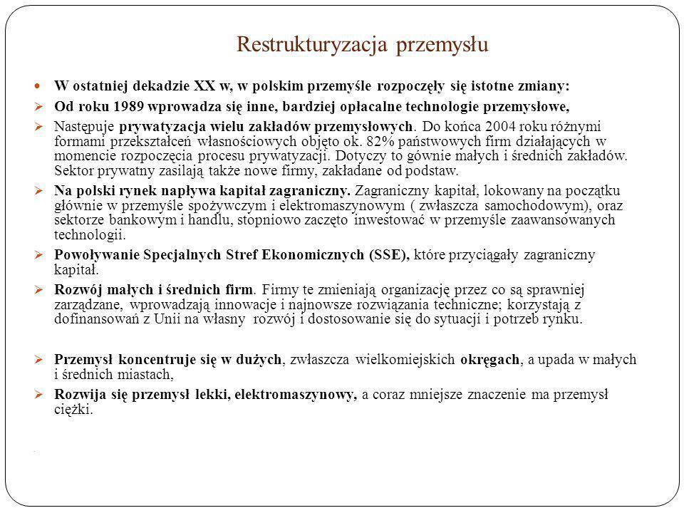 Restrukturyzacja przemysłu W ostatniej dekadzie XX w, w polskim przemyśle rozpoczęły się istotne zmiany: Od roku 1989 wprowadza się inne, bardziej opł