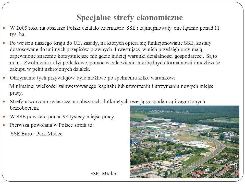 Specjalne strefy ekonomiczne W 2009 roku na obszarze Polski działało czternaście SSE i zajmujmowały one łącznie ponad 11 tys. ha. Po wejściu naszego k