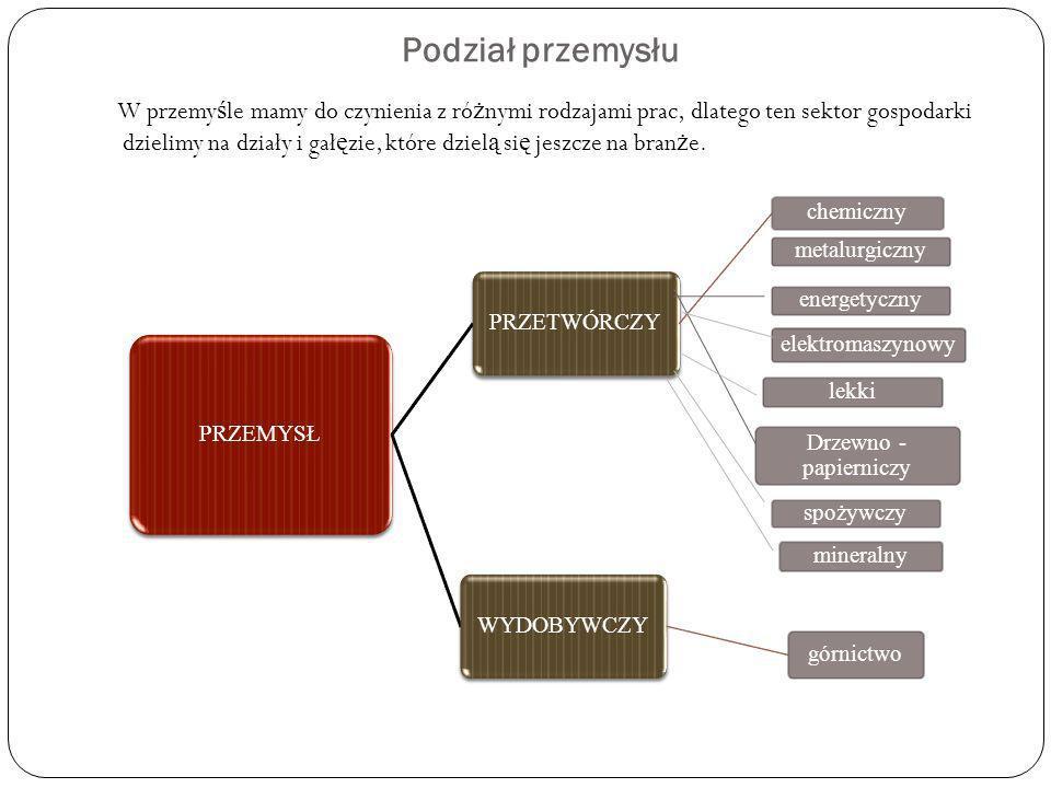 Podział przemysłu PRZEMYSŁ PRZETWÓRCZY chemiczny WYDOBYWCZY górnictwo metalurgiczny Drzewno - papierniczy energetyczny elektromaszynowy lekki spożywcz