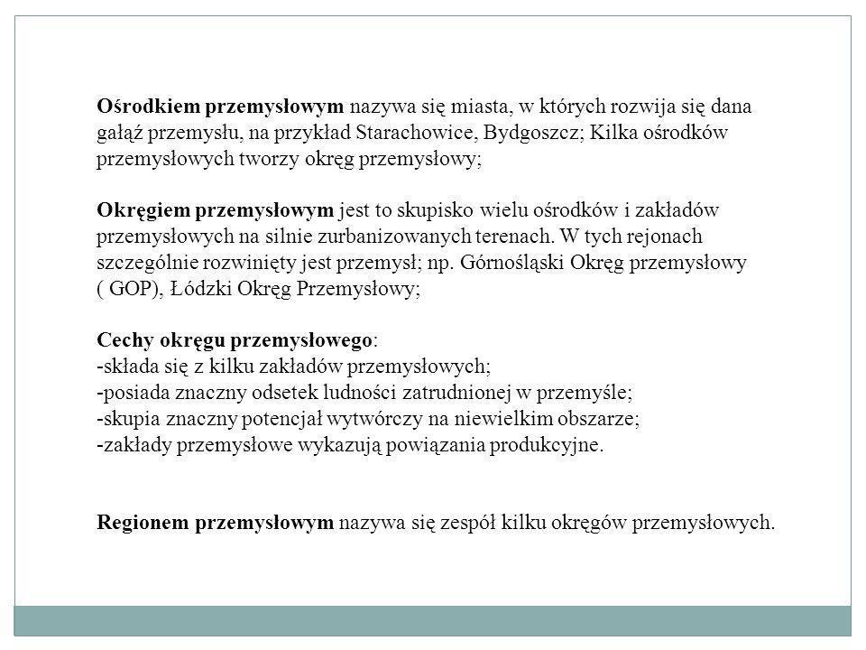 Charakterystyka wybranych okręgów przemysłowych 1.