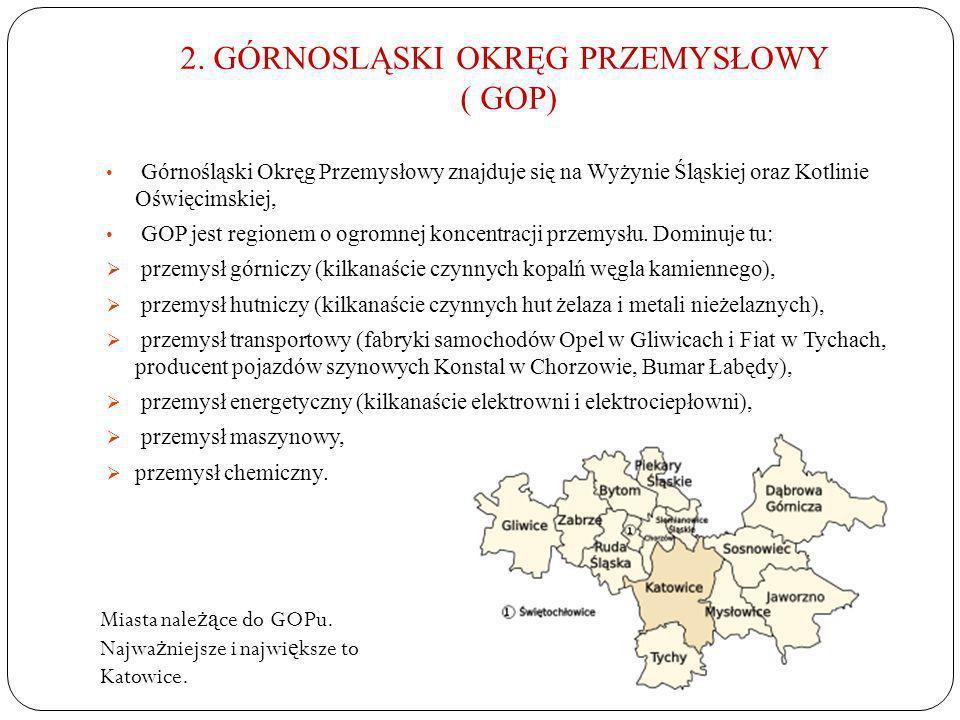 2. GÓRNOSLĄSKI OKRĘG PRZEMYSŁOWY ( GOP) Górnośląski Okręg Przemysłowy znajduje się na Wyżynie Śląskiej oraz Kotlinie Oświęcimskiej, GOP jest regionem