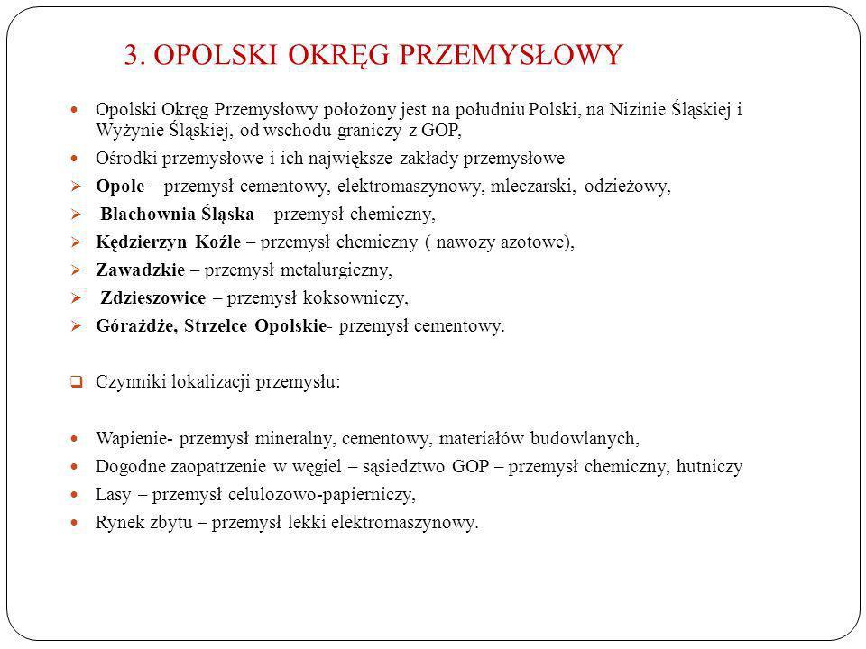 3. OPOLSKI OKRĘG PRZEMYSŁOWY Opolski Okręg Przemysłowy położony jest na południu Polski, na Nizinie Śląskiej i Wyżynie Śląskiej, od wschodu graniczy z