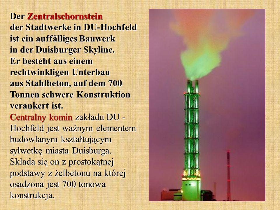 Der Zentralschornstein der Stadtwerke in DU-Hochfeld ist ein auffälliges Bauwerk in der Duisburger Skyline. Er besteht aus einem rechtwinkligen Unterb